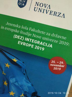 Jesenska šola (Dez)integracija Evrope 2019 od 25. – 29. 11. 2019