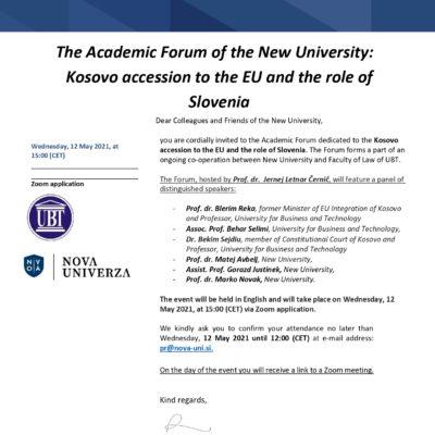 Akademski forum: Kosovo accession to the EU and the role of Slovenia